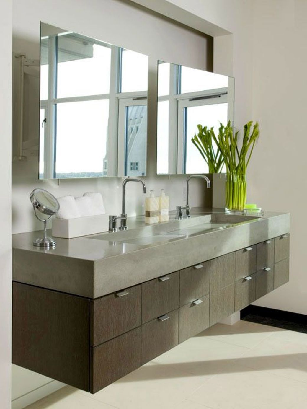 Bathroom The Modern Vanity Floating With Poured Concrete Countertop And Integrated Trough Sink Doubl