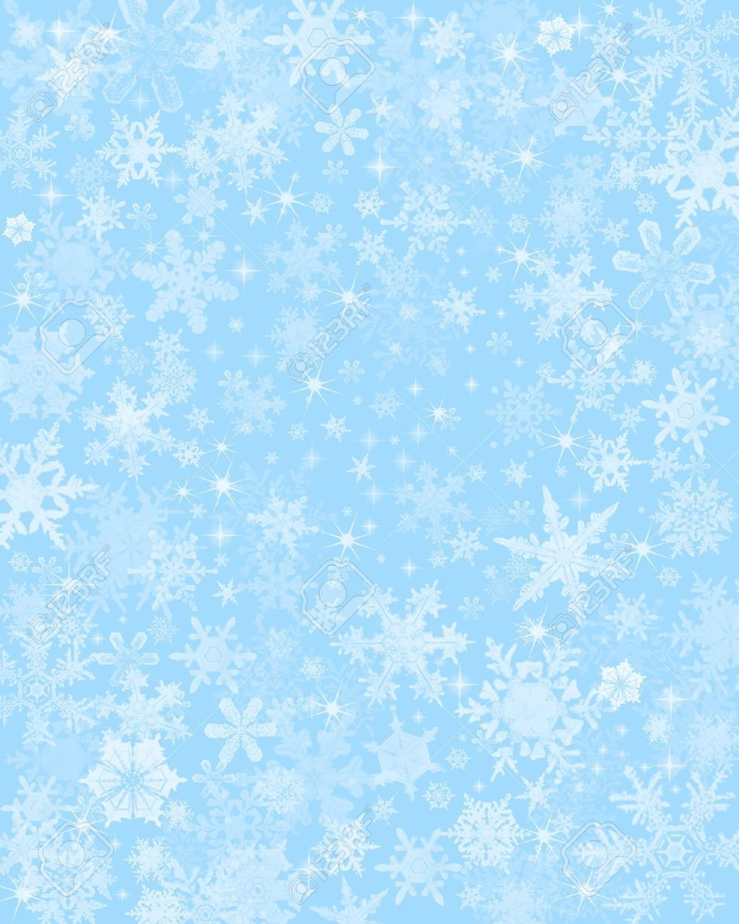 Light Blue And Beige Living Room: Snow Flakes On A Light Blue Background. Stock Photo