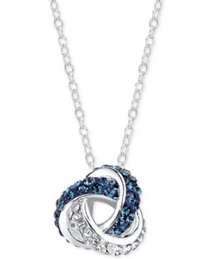 Unwritten Silver-Tone Crystal Knot Necklace - Blue