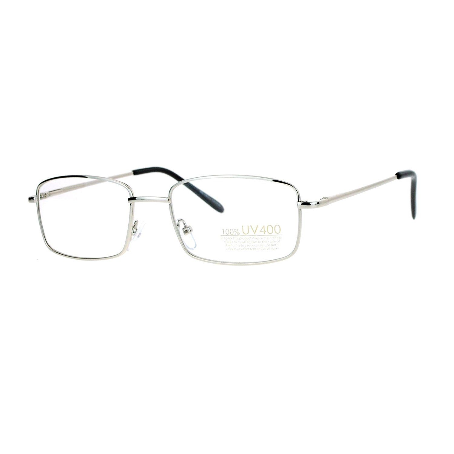 Amazon.com: Silver Small Frame Eyeglasses Thin Metal Rectangular ...