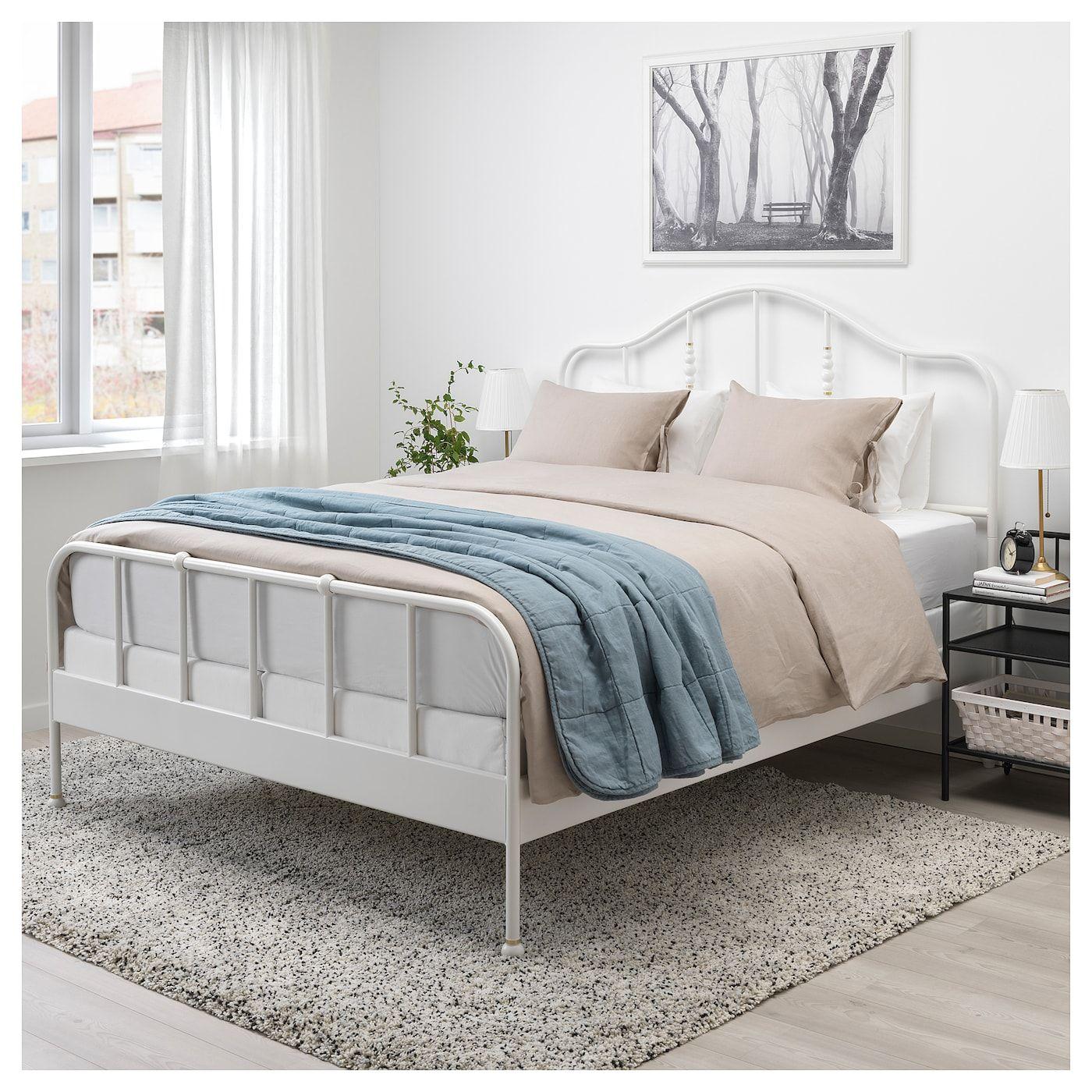 SAGSTUA Bed frame white, Espevär Queen (с изображениями