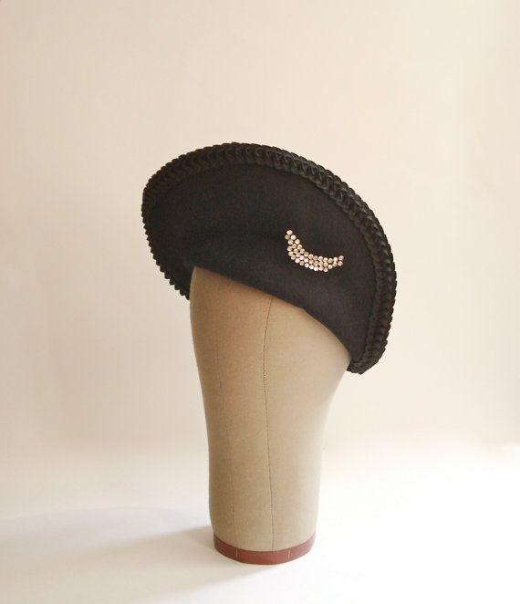 Vintage 1930s Hat   Black Church Hat Skullcap by FlatironVintage, $58.00