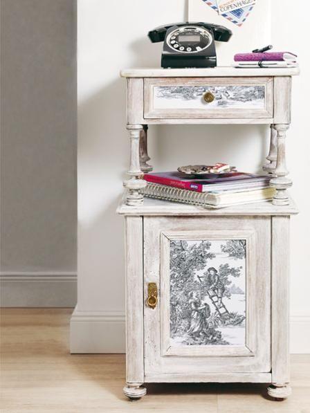 DIY Alte Schätze mit Toile de Jouy aufmöbeln