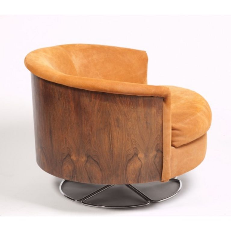 Anonymous; Wood And Chromed Metal Barrel Back Swivel Club Chair By Selig,  1960s/70s.