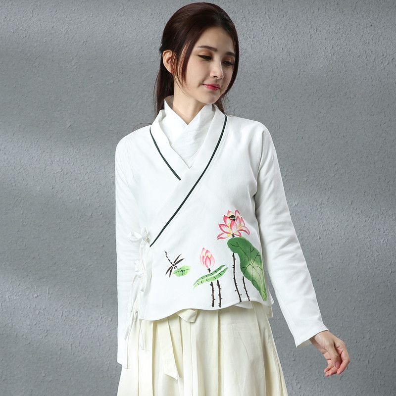 Women Hanfu 2017 female spring autumn long sleeve v neck white lotus linen blouse shirt F Tops Traditional Chinese clothing