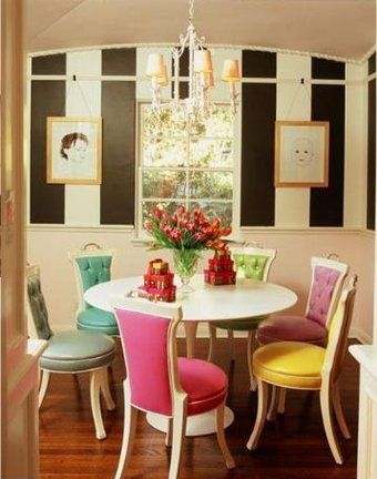 Awesome Striped Wall And Candy Colored Chairs On A White Background. Could Make A  Fun Office Decor.