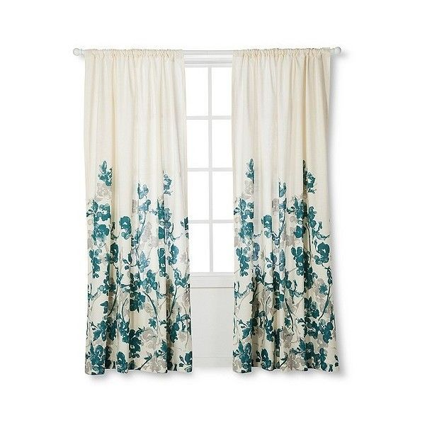 Threshold Naturals Climbing Vine Curtain Panel Teal Blue 25 Liked On Polyvore Featuring Home Home Decor Window T Teal Curtains Curtains Panel Curtains