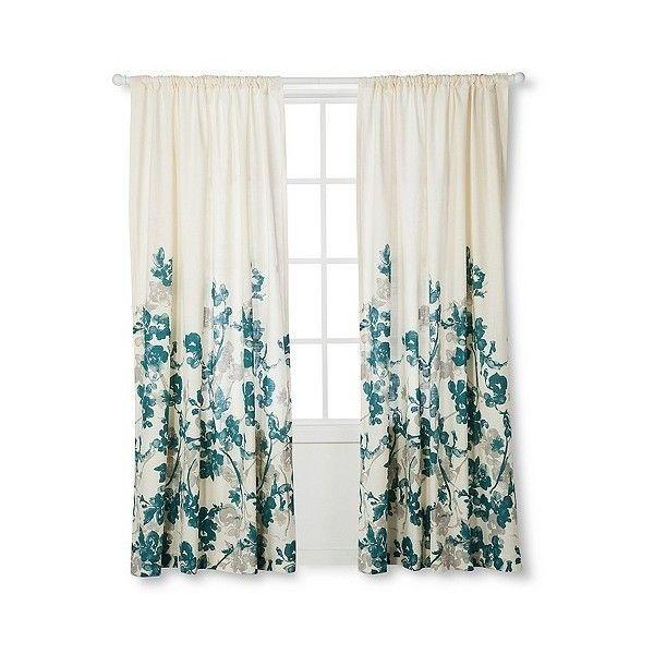 Threshold Naturals Climbing Vine Curtain Panel Teal Blue 25
