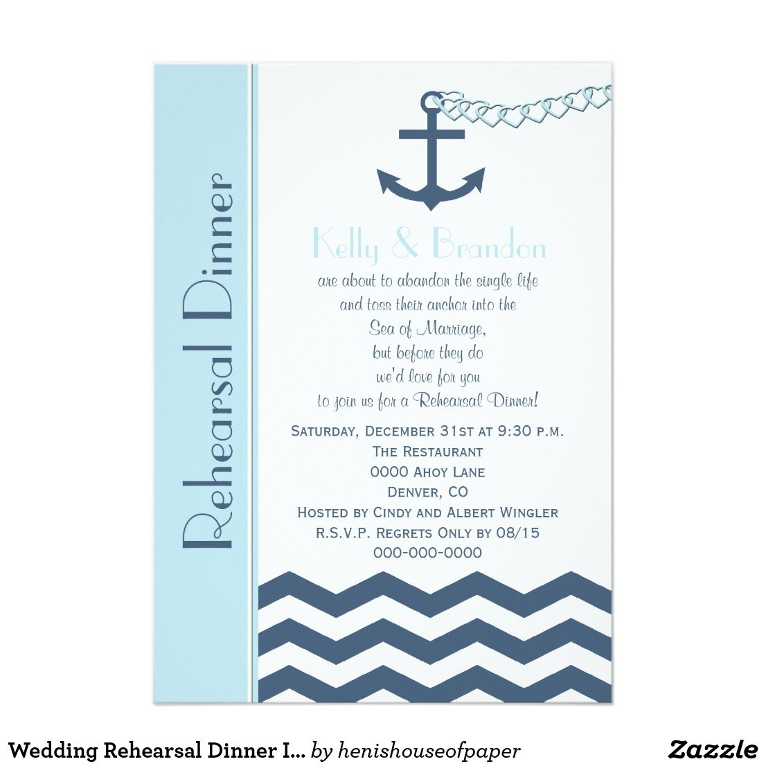 Wedding Rehearsal Dinner Invitation Nautical This modern