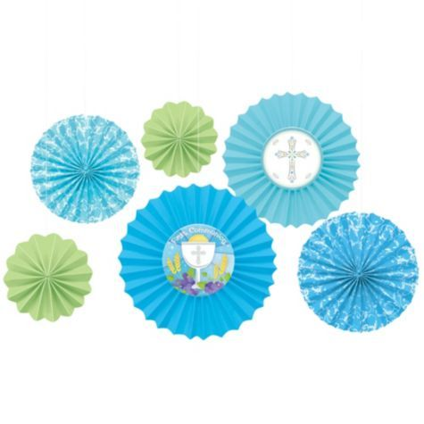Blue First Communion Paper Fan Decorations - Party City Canada | Js