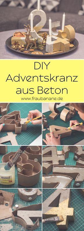 Adventskranz aus Beton - Fraubanane #couronnedenoel