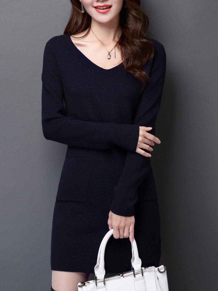 V neck casual knitted long sleeve solid mini dress mini dresses