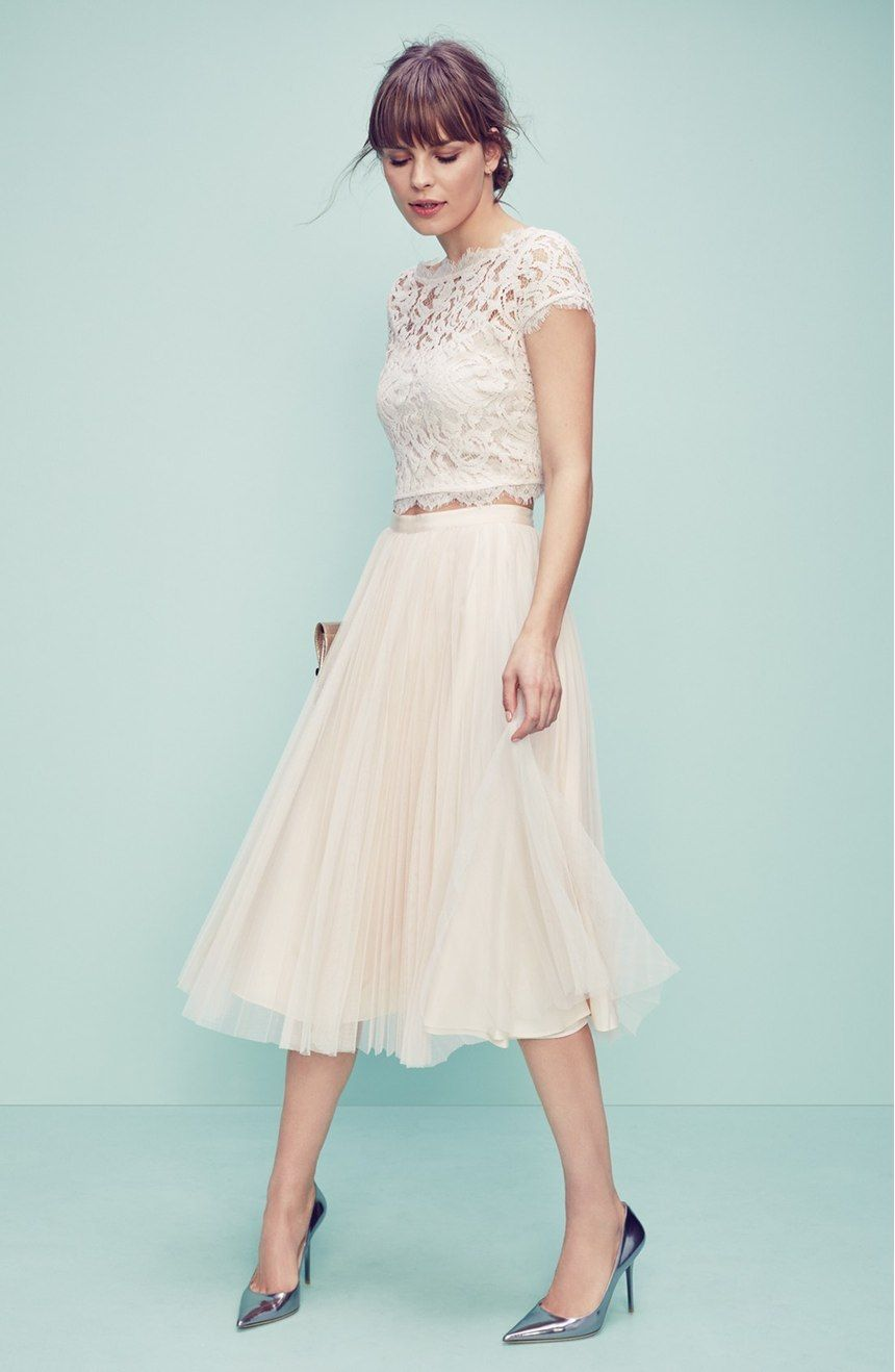 Pleated Tulle Midi Skirt | Re-branding | Pinterest | Adrianna papell ...