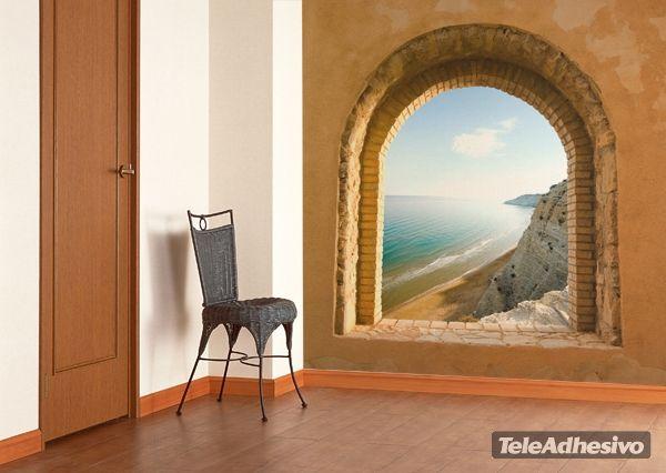 Fotomurales ventana al mar fotomurales de paisajes Murales vinilo para paredes paisajes