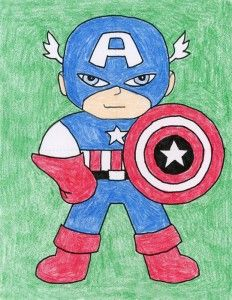 How To Draw Captain America Art Projects For Kids Captain America Art America Art Scenery Drawing For Kids