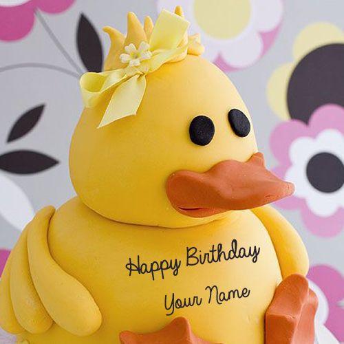 Write Name On Cute Little Yellow Duck Birthday Cakebaby Girl