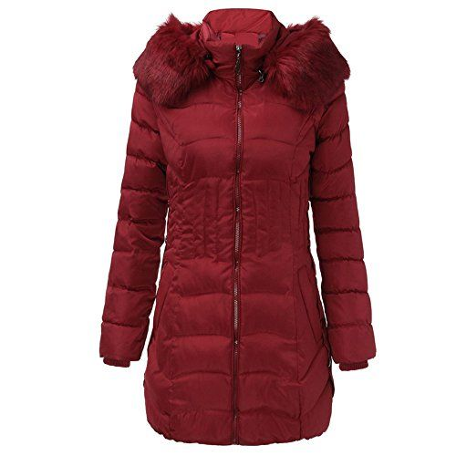 zycShang Manteau Hiver Femme Jacket La Mode Hiver Womens Longue Veste  Chaude Parka ExtéRieur De La Tenue du Manteau De Slim TranchéEs (Vin Rouge  3XL) da4635fc20b