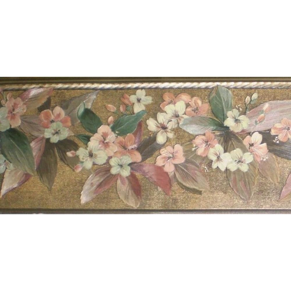 Dundee Deco Falkirk Brin Gold Silver Pink Green Flowers On Vine Floral Prepasted Wallpaper Border Bd60 Wallpaper Border Prepasted Wallpaper Flower Wallpaper