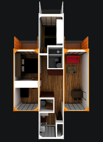 Contenedores habitables, por arquitectos de La Universidad Piloto de Bogotá - Colombia. Las unidades tienen áreas que oscilan entre 44 y 73 metros cuadrados, en los cuales se distribuyen sala comedor, cocina abierta, zona de ropas, de 2 a 4 alcobas, balcón y terrazas. Con opción de ampliación.