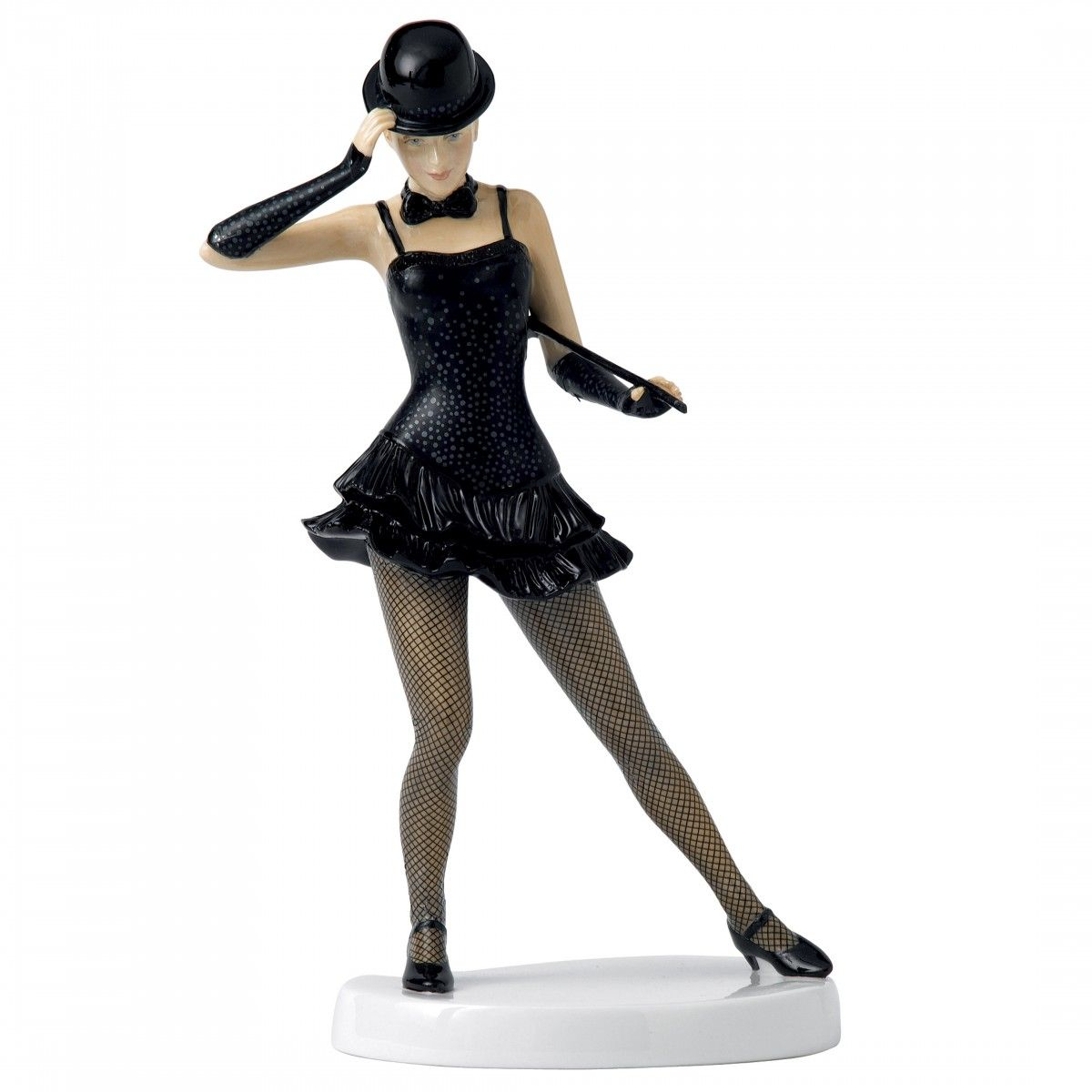 Royal Doulton Dances of the World, American Caberet,  The American Dancer wears a short black dress with a flared, swinging skirt and elbow length fingerless gloves and sports a black bow tie around her bare neck. Limited Edition 2500