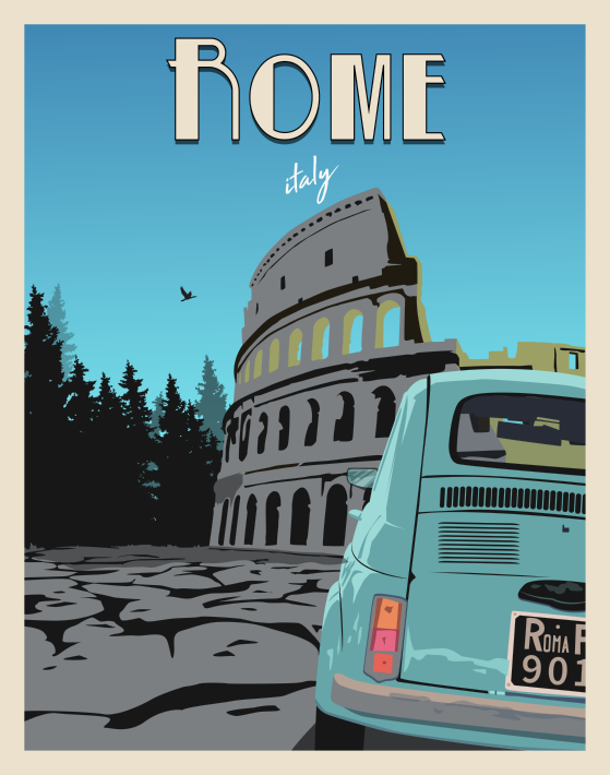 Rome Italy Vintage Style Travel Poster Vintage Travel Posters Vintage Poster Art Retro Travel Poster