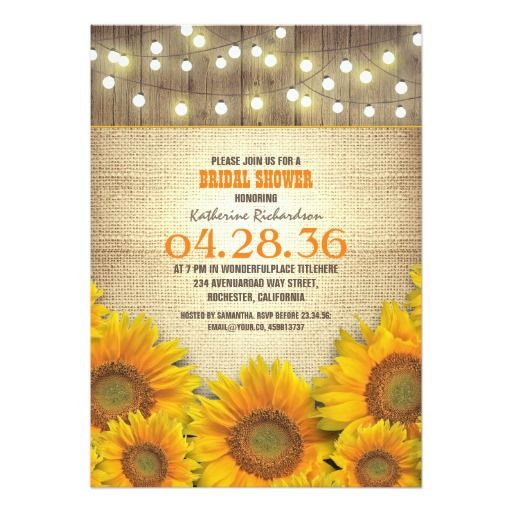 Sunflowers Rustic Bridal Shower Invitations Rustic bridal showers