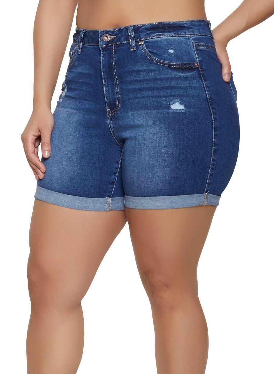 e4cdb53abc Plus Size WAX Fixed Cuff Bermuda Jean Shorts - Blue - Size 2X in ...