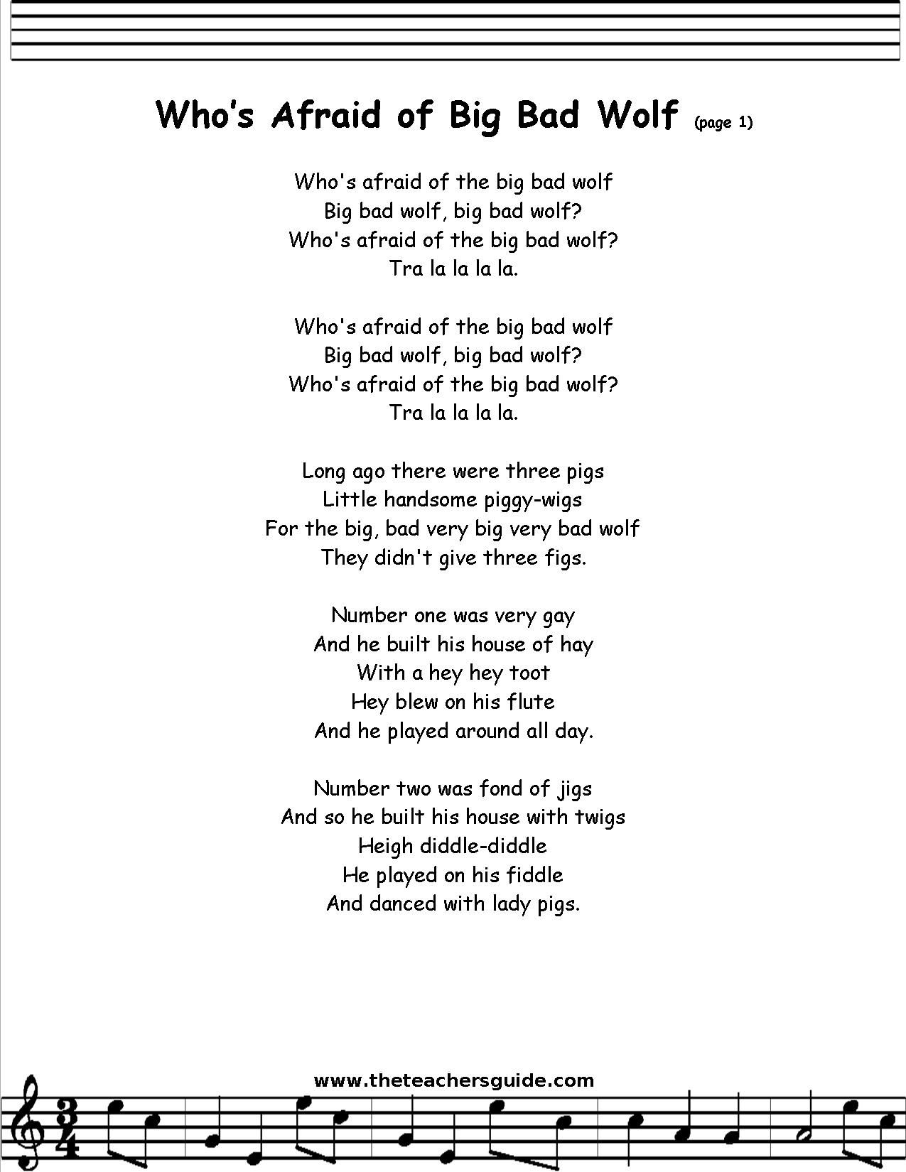 Big Mama Song Lyrics : lyrics, Who's, Afraid, Lyrics,, Printout,, MIDI,, Video, Song,