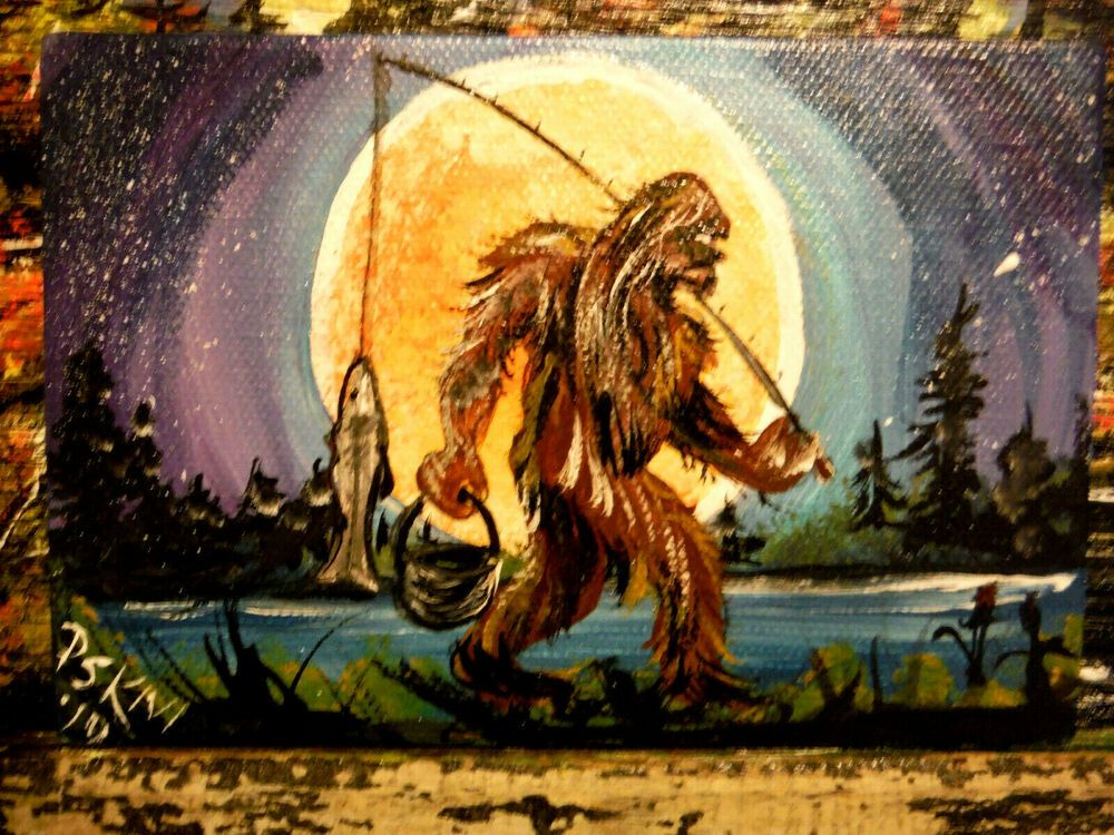 Bigfoot Sasquatch Original Acrylic Painting 4 X6 Full Moon Fishing Awesome Sasquatch Painting Painting Of Girl