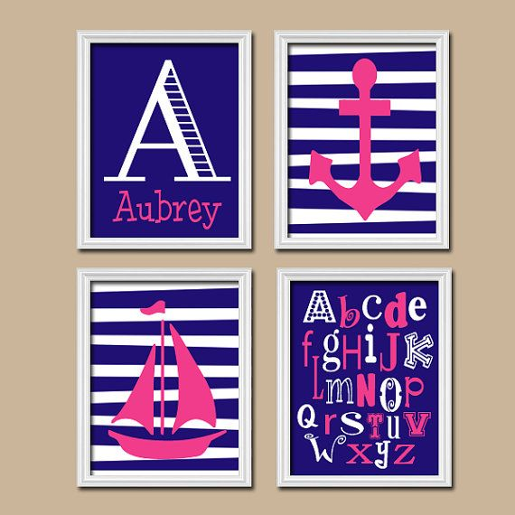 Girl Nautical Navy Blue Pink Monogram Sailboat Sea Anchor Ocean Alphabet Set of 4 Prints Wall Decor Art Crib Nursery Child - Just in case I might have to combine the guest & Summer's bedroom in Germany