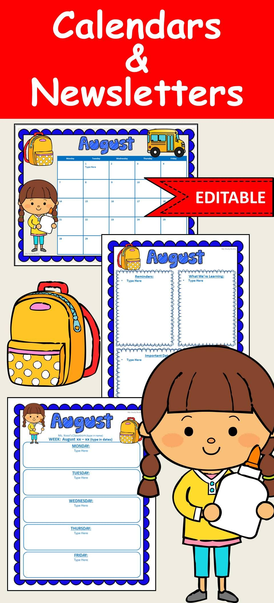 Editable Calendar And Newsletter Templates Back To School