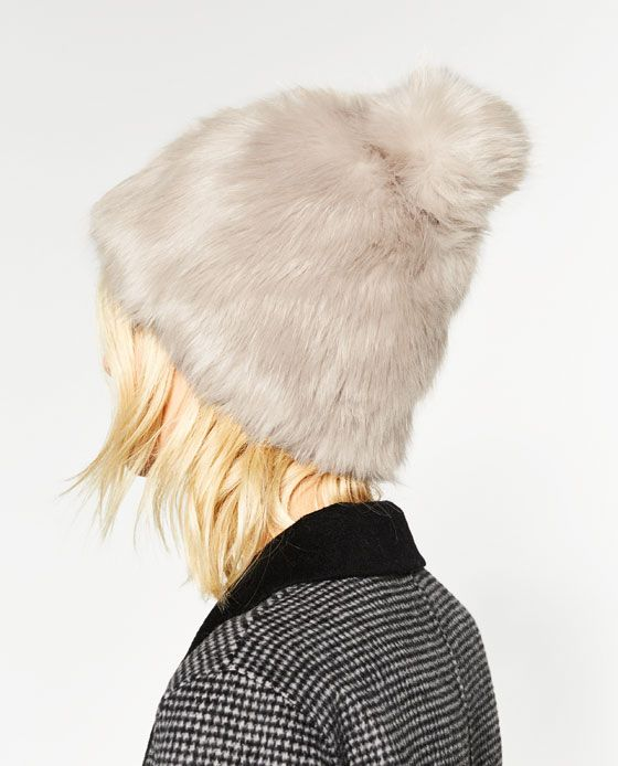 Image 4 of FAUX FUR POMPOM HAT from Zara  9a2bc1d80ab