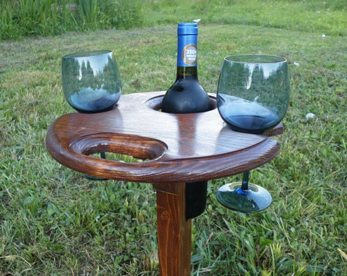 Folding Wine Table Outdoor Wine Glass Holder Picnic Wine Table