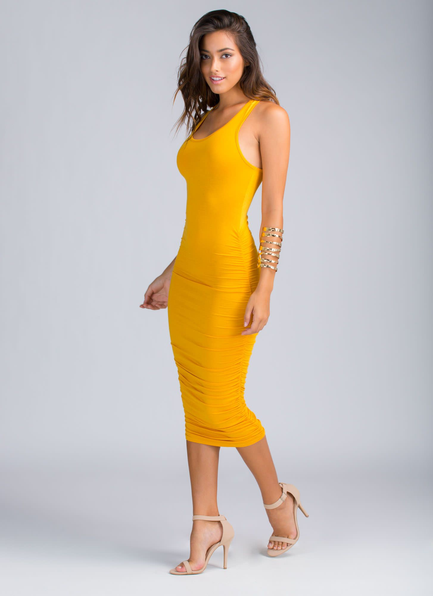 f8d35bf9e9a3 Ruche Me Racer Bodycon Dress MUSTARD. Ruche Me Racer Bodycon Dress MUSTARD  Midi Dress Outfit