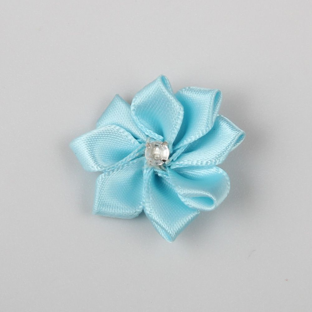 Satin Petal Flower With Rhinestone Crystal Center in Lt.Blue