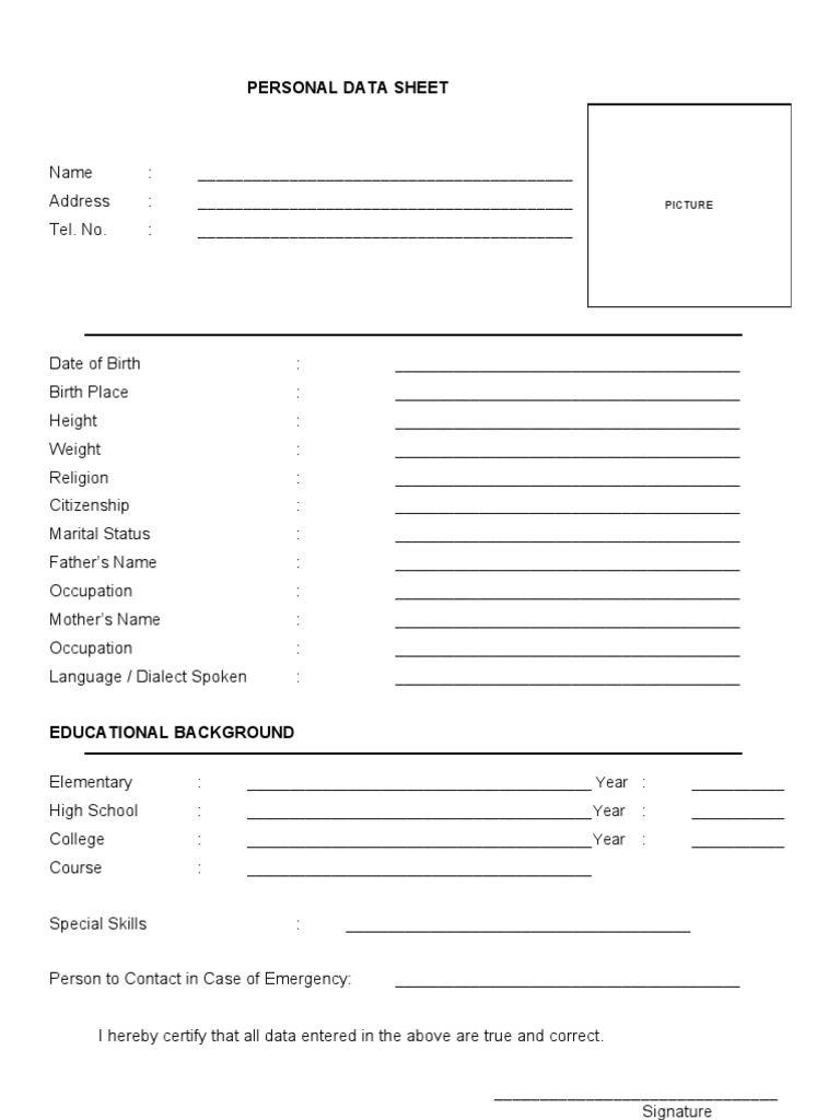 bio data sheet 1