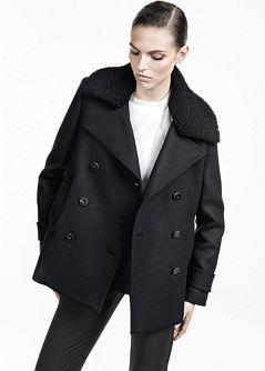 MANGO - PRENDAS - Abrigos - Peacoat lana cuello borreguito