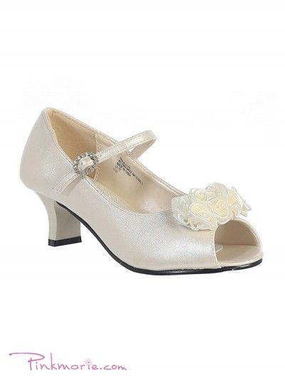 289f10a06b Ivory Satin Flower Peep Toe Girl Shoes | Shoes | Girls dress shoes ...