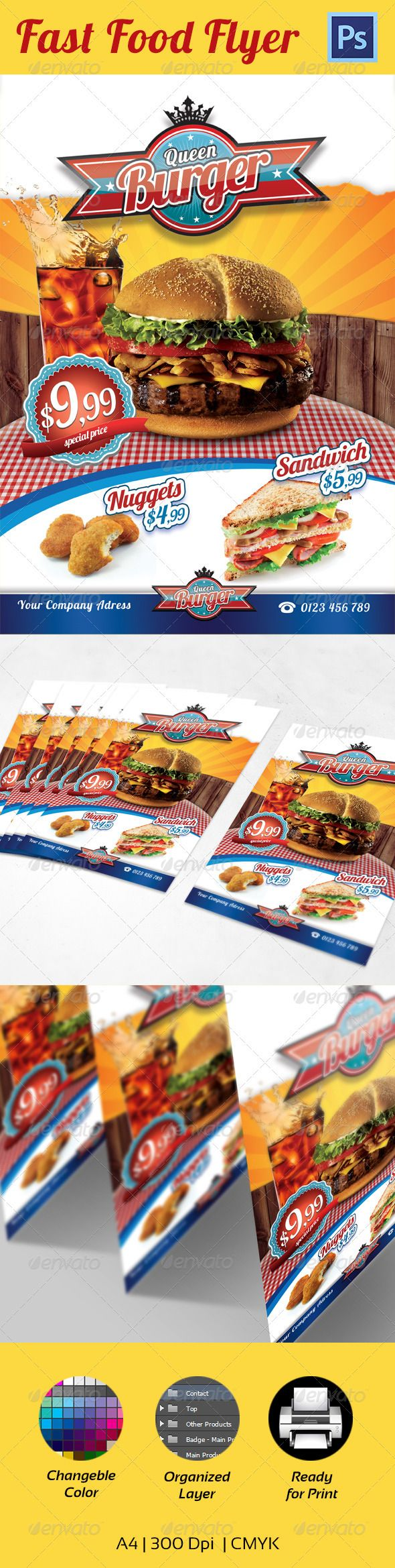 Fast Food Flyer Template  A  Food Brochure    Flyer