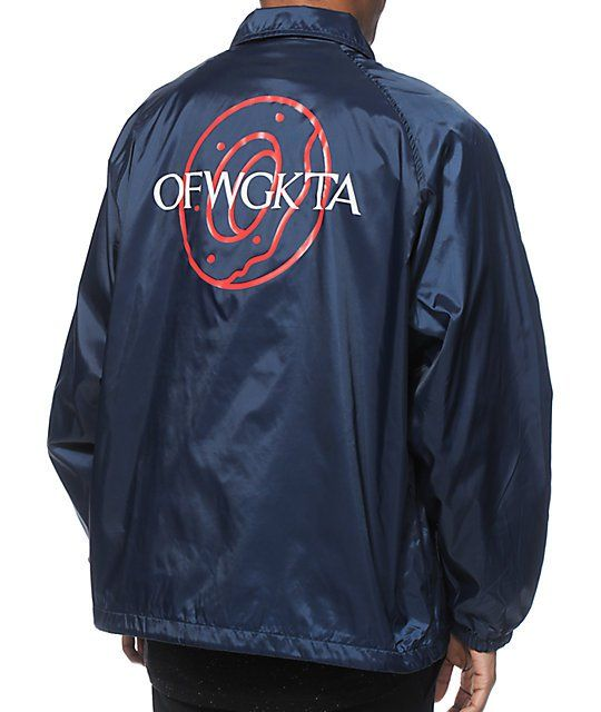 9641c49115bf Bring some fun style to your wardrobe with a white OFWGKTA left chest  graphic and donut logo graphic on the back of a clean navy shell lined with  a soft ...