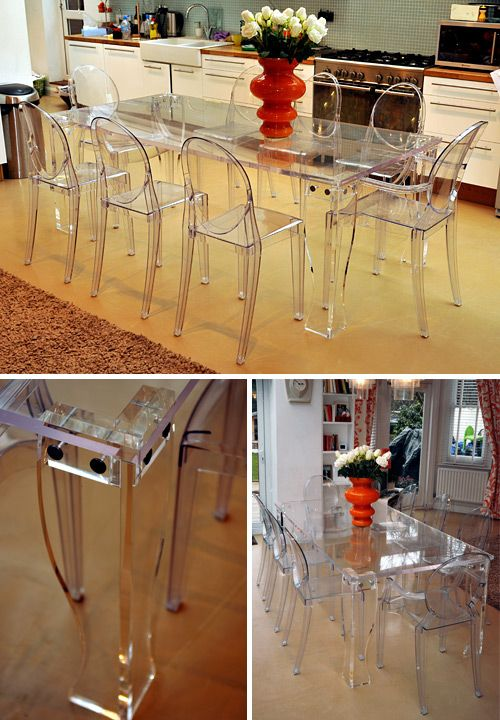 clear perspex dining table. designed with removable legs for ease
