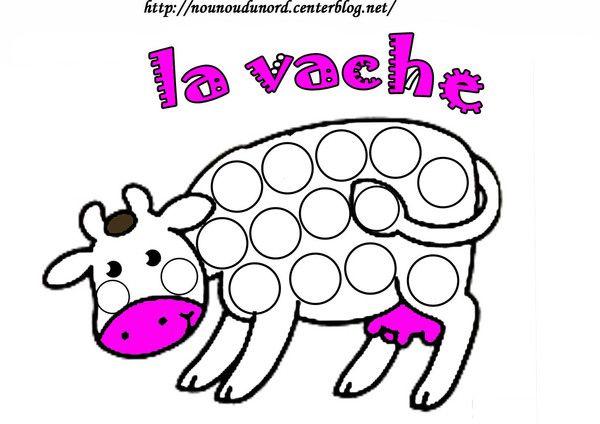 Coloriage La Vache A Gommette En Couleur Gomette Pinterest