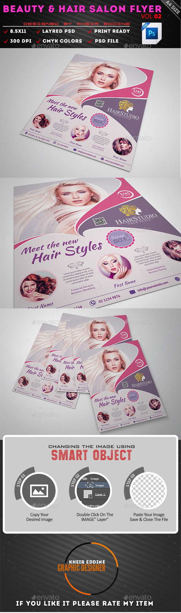 Hair  Beauty Salon Flyer On Behance  Web Page Ideas