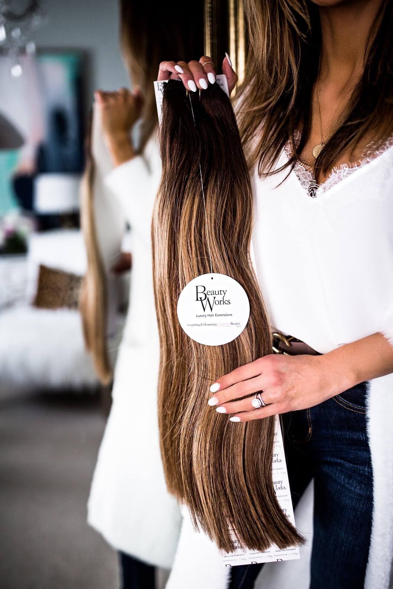 Mia Mia Mine Wearing Beauty Works Hair Extensions In Mocha Melt