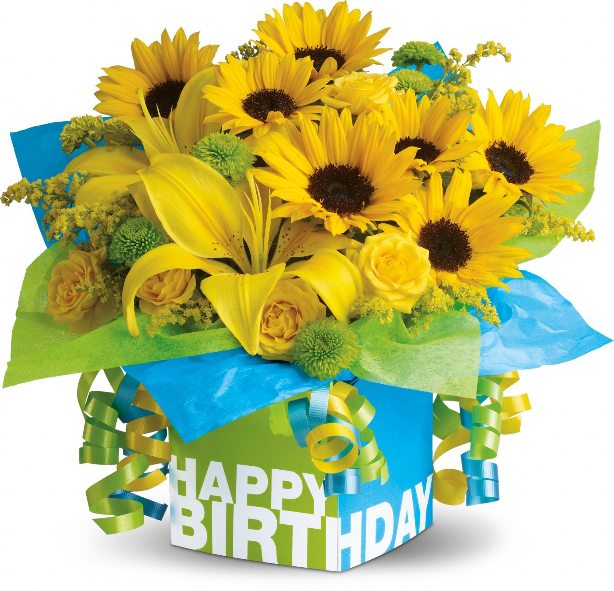 Teleflora S Sunny Birthday Present Bouquet Happy Birthday