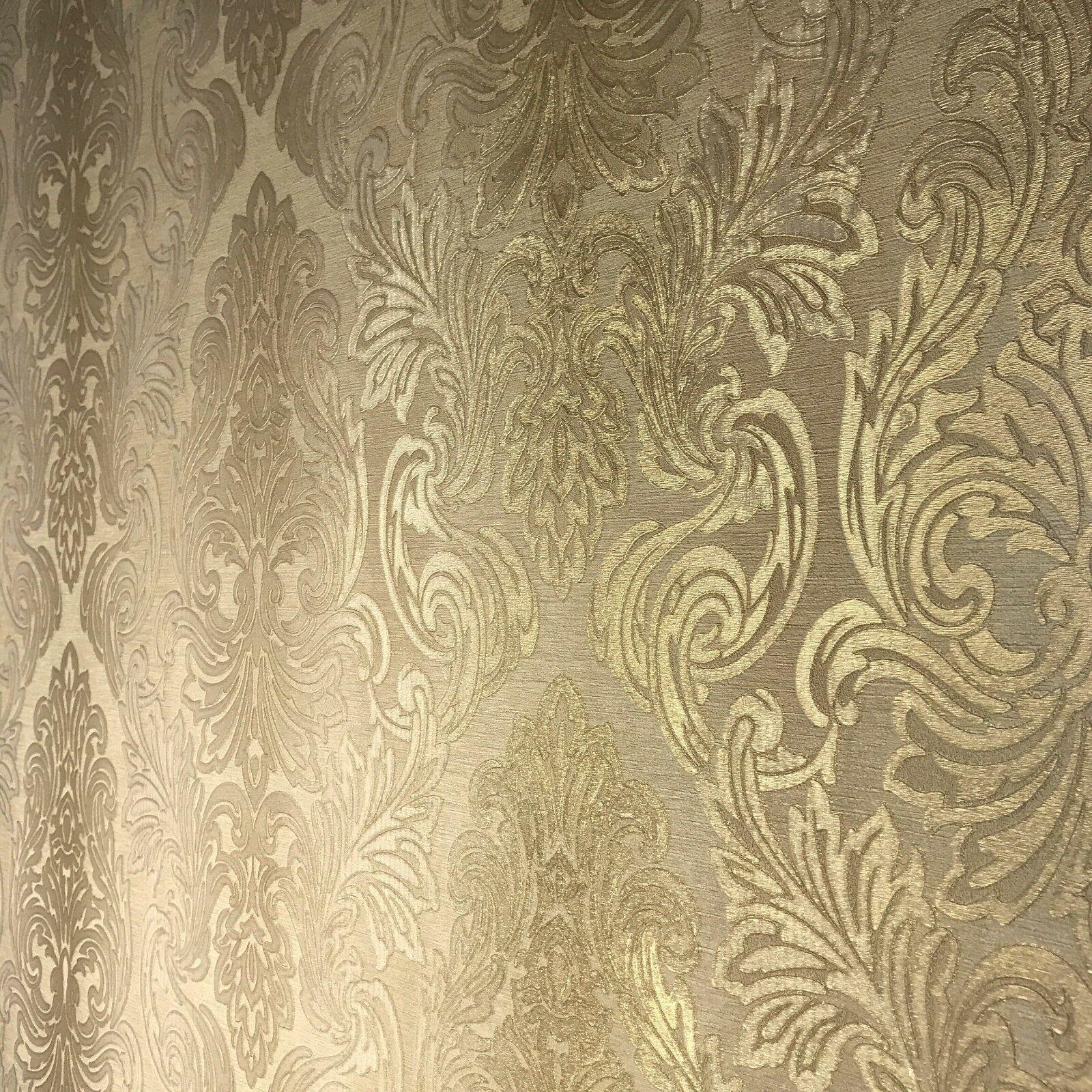Wallpaper beige tan gold metallic rolls textured Victorian
