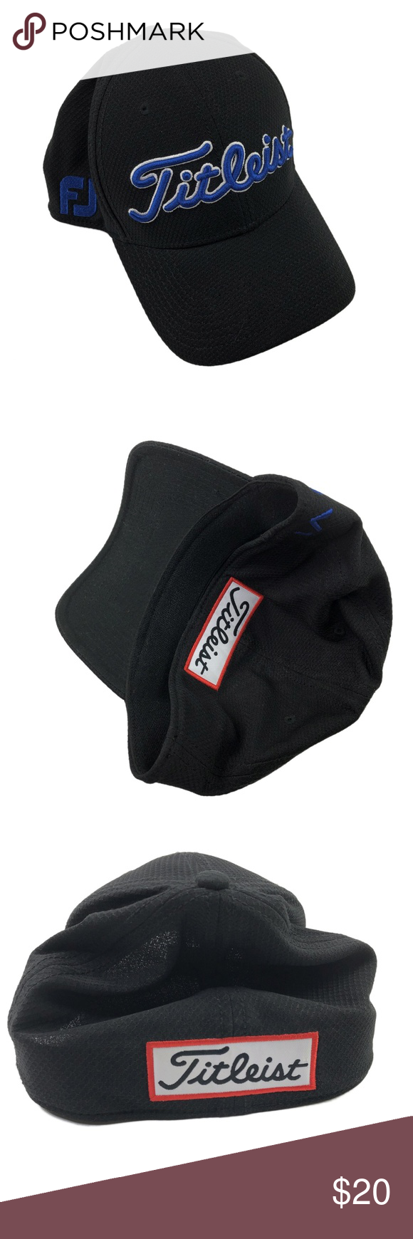 9900174cf3a Titleist Mens Golf Hat Footjoy Black Titleist Golf Hat Adjustable Mens  Medium Large Black Footjoy FJ ProV1 Logos Tagged as M L stretch fit.
