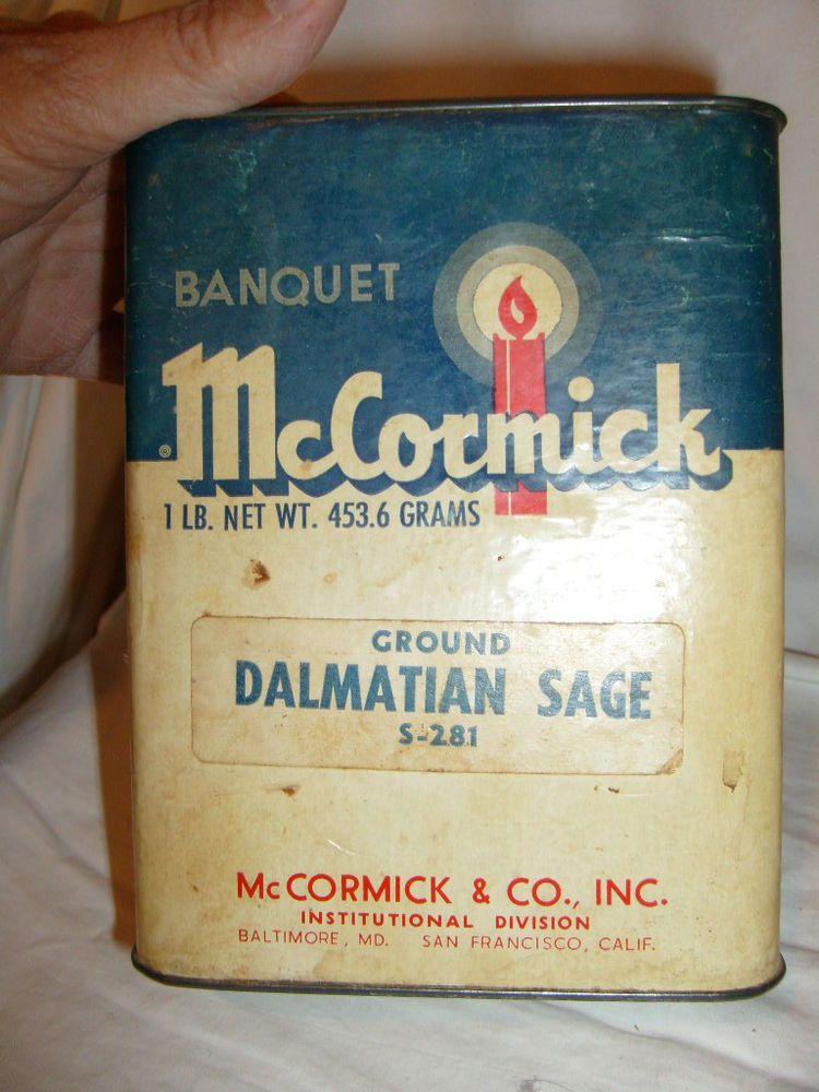 LARGE McCORMICK BANQUET DALMATIAN SAGE SPICE CARDBOARD & TIN LITHO CAN CANDLE #McCormick