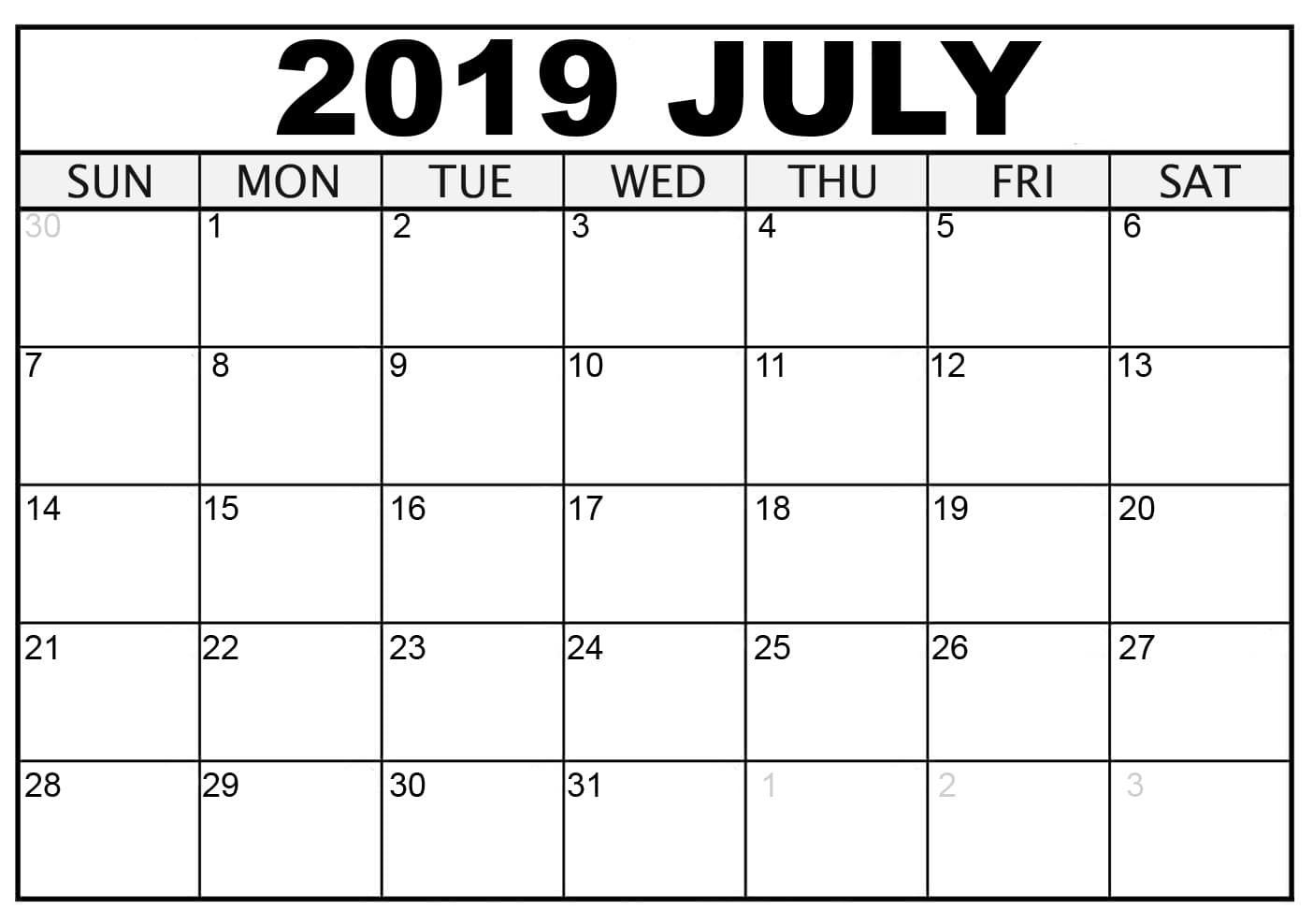 Calendrier Nfl 2020 2019.Blank July 2019 Calendar Free Download In 2019 Printable