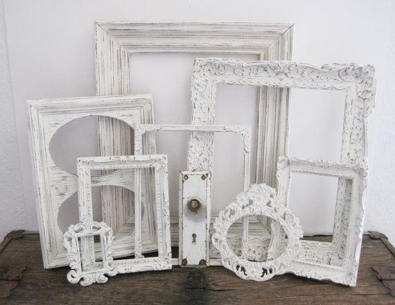 Cottage Decor White Picture Frame Set Of 8 Shabby Chic Rustic Wall ...